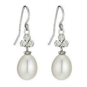 Sparkle Silver Cultured Freshwater Pearl Earrings
