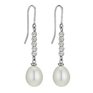Sparkle Silver Cultured Freshwater Pearl Drop Earrings